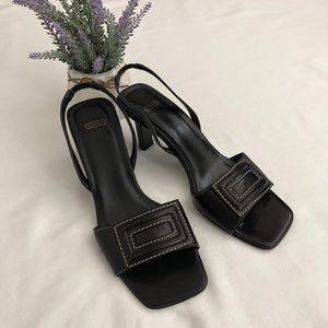 Coach black leather heeled slingback sandals sz:7